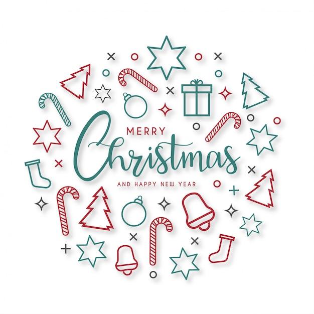 Современная веселая рождественская открытка с плоскими иконками Бесплатные векторы