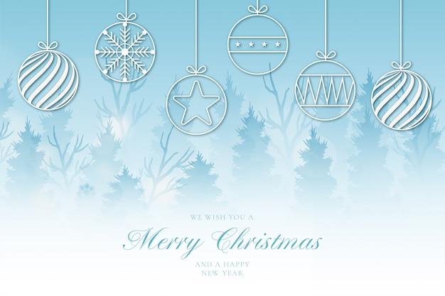 かわいい風景とモダンなメリークリスマスの背景 無料ベクター