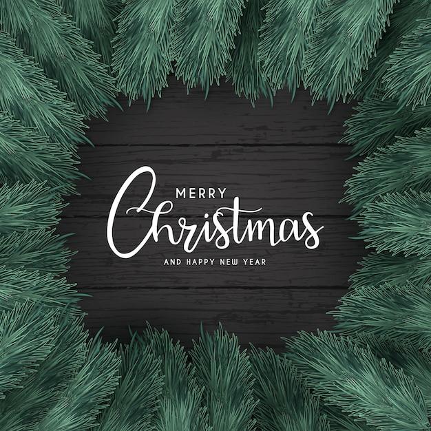 黒い木とメリークリスマスの背景 無料ベクター