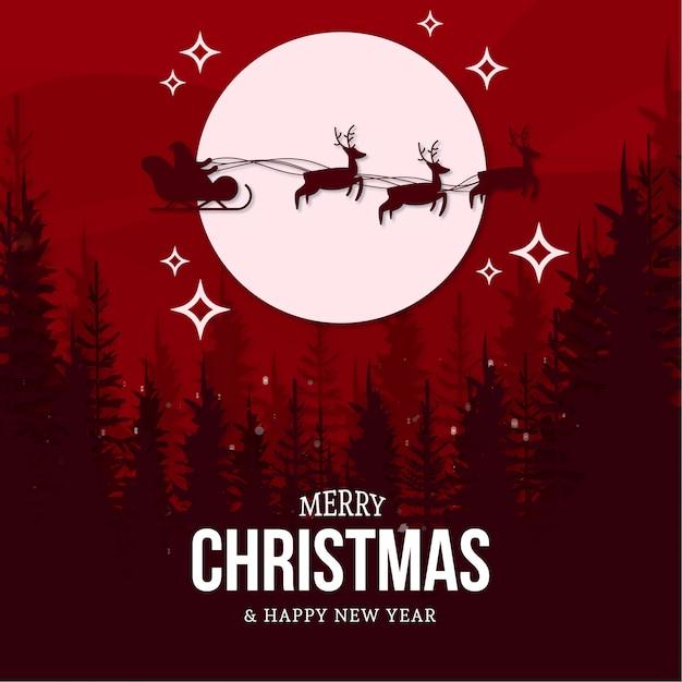 風景とモダンなメリークリスマスカード 無料ベクター