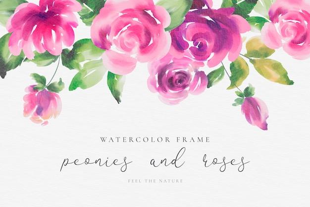 牡丹とバラの水彩画の花のフレーム 無料ベクター