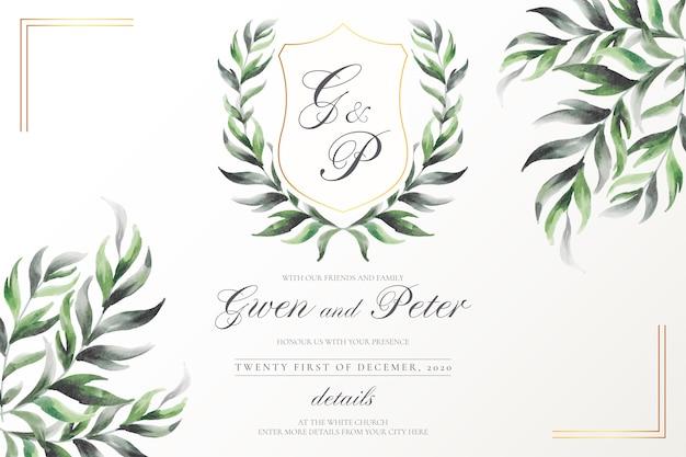 水彩画の葉を持つエレガントな結婚式の紋章 無料ベクター