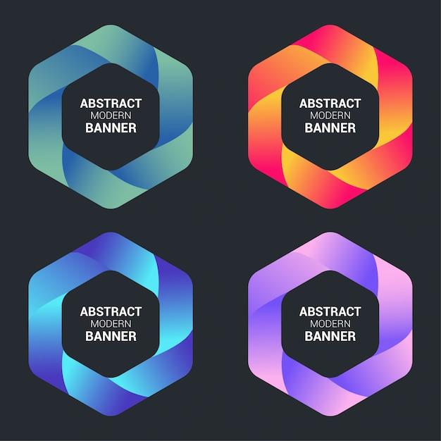 カラフルなグラデーションで抽象的な現代的なバナー 無料ベクター
