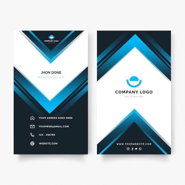 Современная вертикальная визитная карточка с синими фигурами Бесплатные векторы