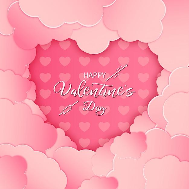 ピンクの紙でモダンな幸せなバレンタインカードをカット雲 無料ベクター