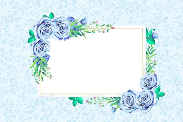 モダンな水彩花のフレーム 無料ベクター