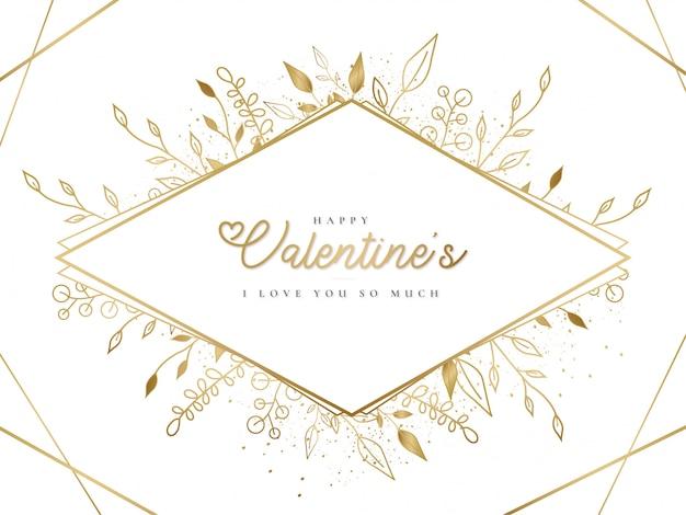С днем святого валентина золотая рамка с листьями Бесплатные векторы