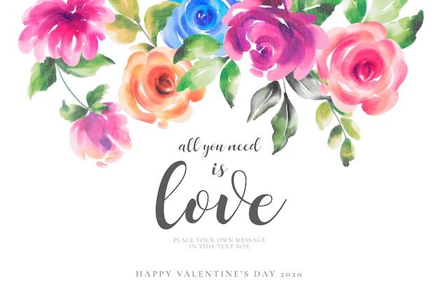 色とりどりの花でロマンチックなバレンタインデーの背景 無料ベクター