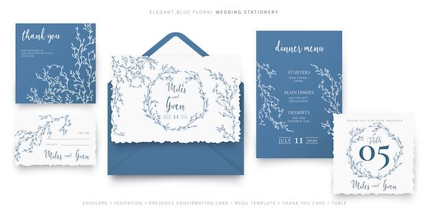 Элегантные синие цветочные свадебные канцтовары Бесплатные векторы