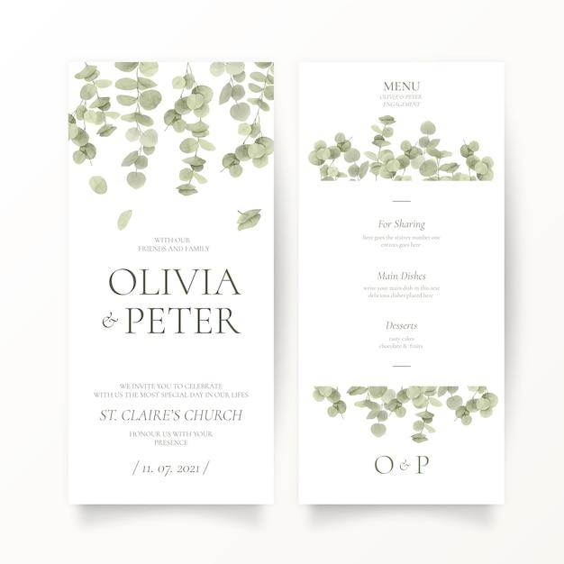 ユーカリの葉の結婚式のひな形テンプレート 無料ベクター