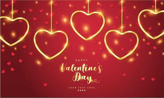 黄金の心で幸せなバレンタインデーの背景 無料ベクター