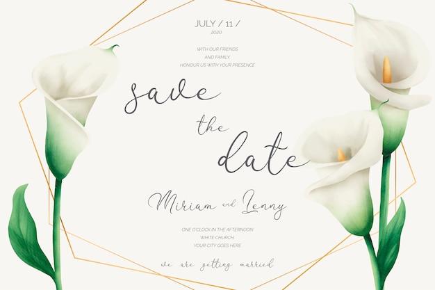 ゴールデンフレームとユリの花の結婚式の招待状 無料ベクター