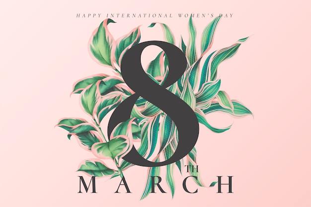Цветочный женский день фон с красивыми листьями Бесплатные векторы