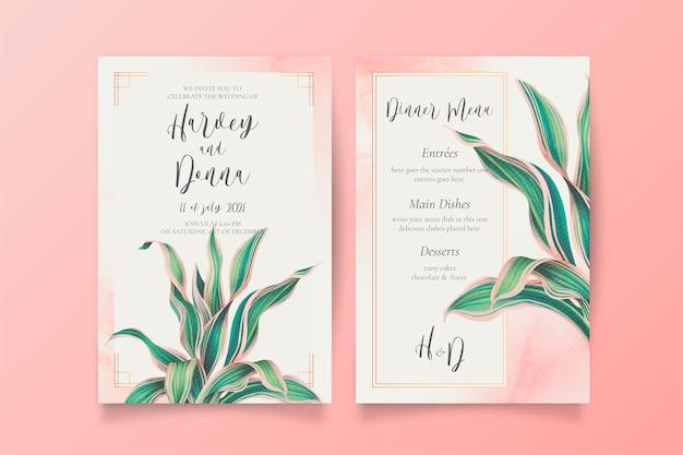 素敵な葉を持つ結婚式招待状とメニューテンプレート 無料ベクター