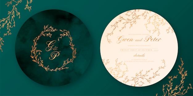 緑とベージュのエレガントな結婚式の招待状 無料ベクター
