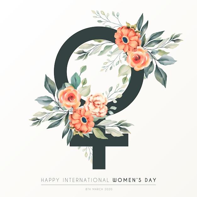 Красивый цветочный женский день фон Бесплатные векторы
