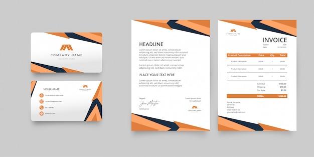 Современная деловая канцелярская упаковка с оранжевыми формами Бесплатные векторы