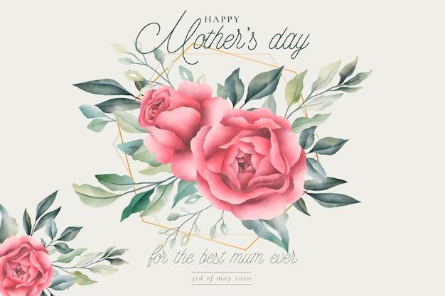 花の母の日グリーティングカード 無料ベクター