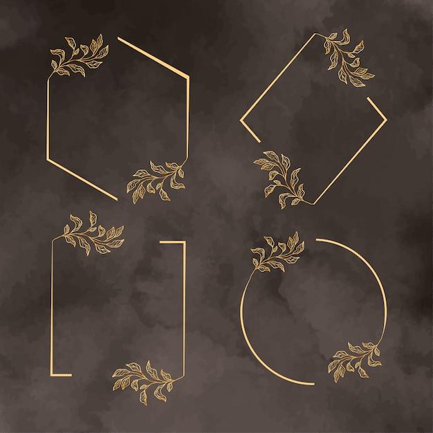 Современная золотая рамка шаблон с пакетом листьев Бесплатные векторы