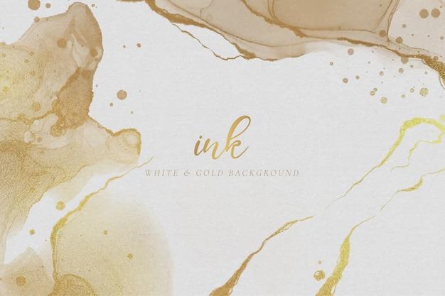 Элегантный белый и золотой фон чернил Бесплатные векторы
