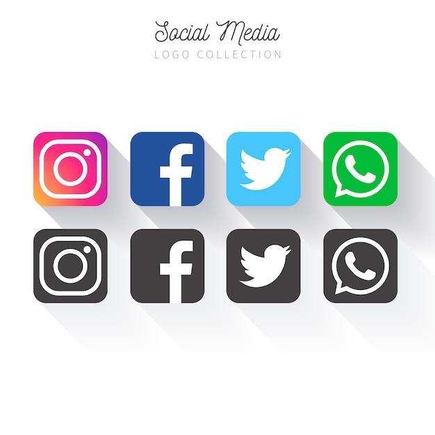 Коллекция популярных социальных медиа Бесплатные векторы