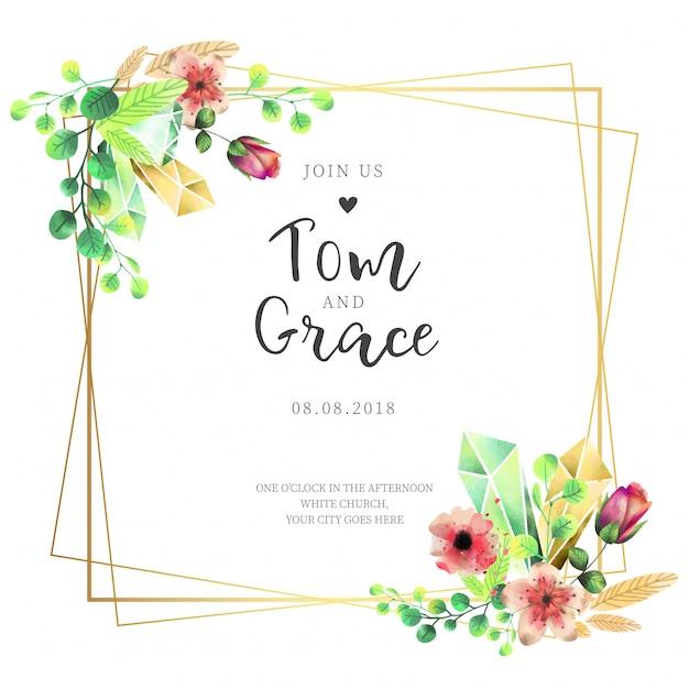 エレガントなフレームの結婚式招待状と水彩花 無料ベクター