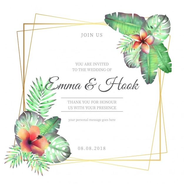 トロピカルな花と花の結婚式のフレーム 無料ベクター