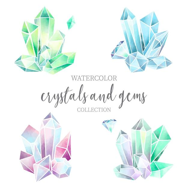 カラフルなクリスタルと宝石の水彩セット 無料ベクター