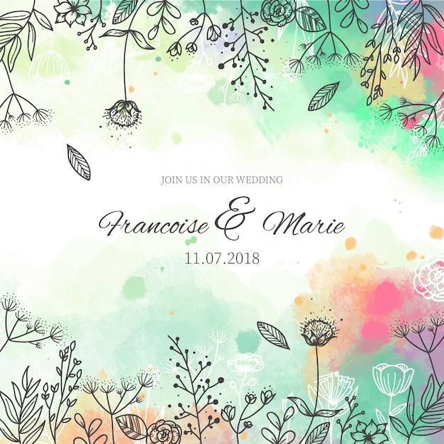 水彩スタイルの花の背景と結婚式の招待状 無料ベクター
