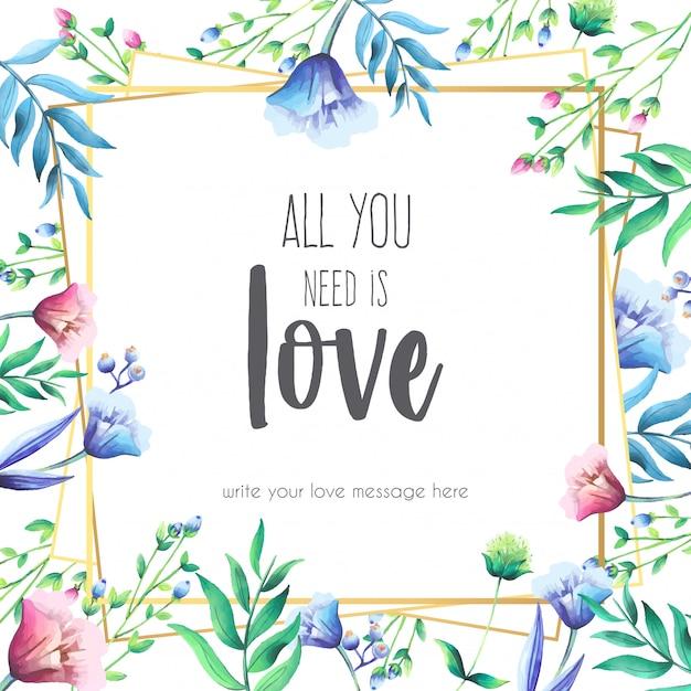 愛のメッセージを持つ花のフレーム 無料ベクター