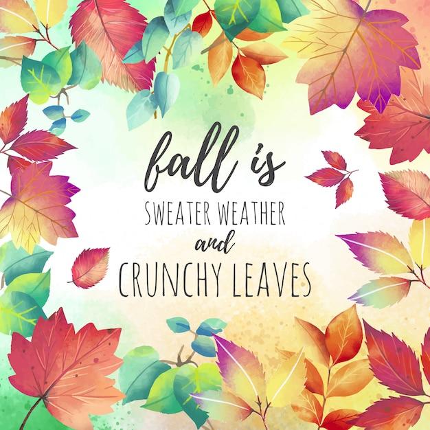 美しい秋の引用の背景 無料ベクター