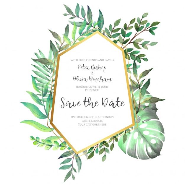 結婚式の招待状のための葉の多角形ゴールデンフレーム 無料ベクター