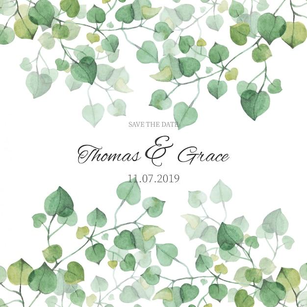 水彩葉の結婚式招待状 無料ベクター