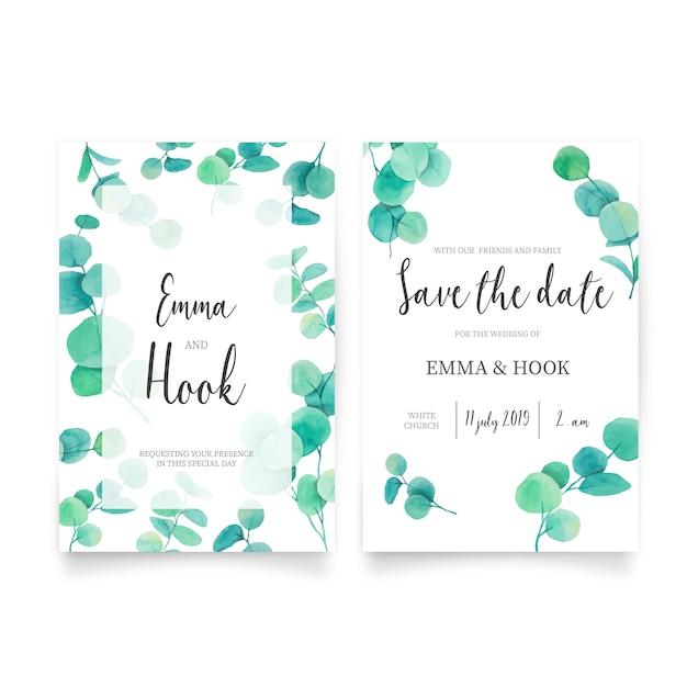 ユーカリの葉を使った美しい結婚式招待状 無料ベクター