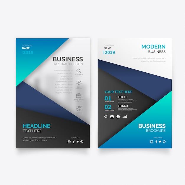 青い形のエレガントなビジネスパンフレットテンプレート 無料ベクター