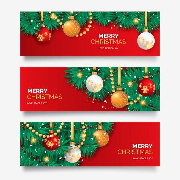 エレガントな装飾とクリスマスバナー 無料ベクター