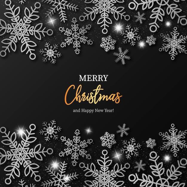 Элегантный рождественский фон с серебряными снежинками Бесплатные векторы