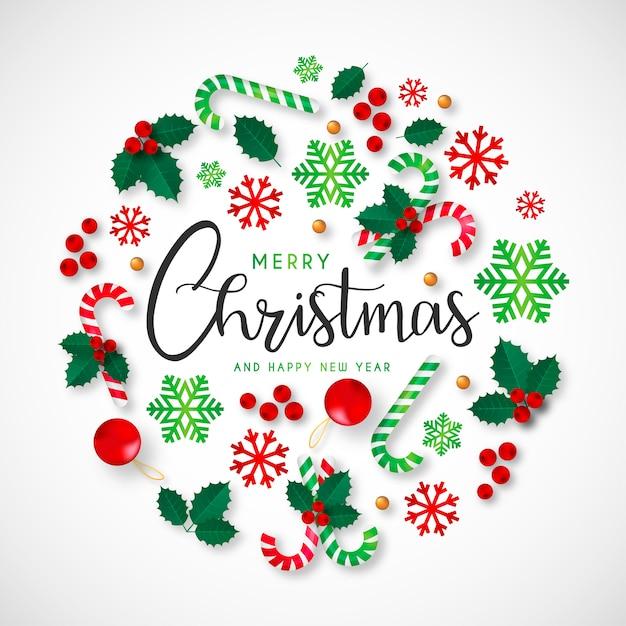 美しい装飾とクリスマスの背景 無料ベクター