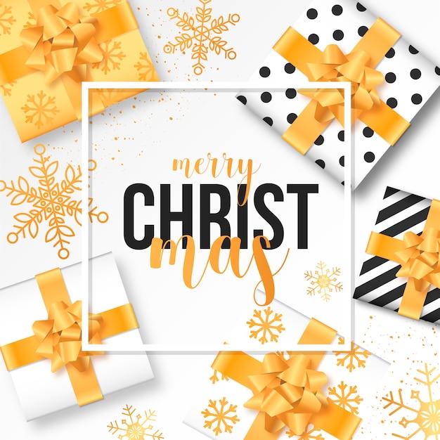 現実的な贈り物と現代のクリスマスの背景 無料ベクター