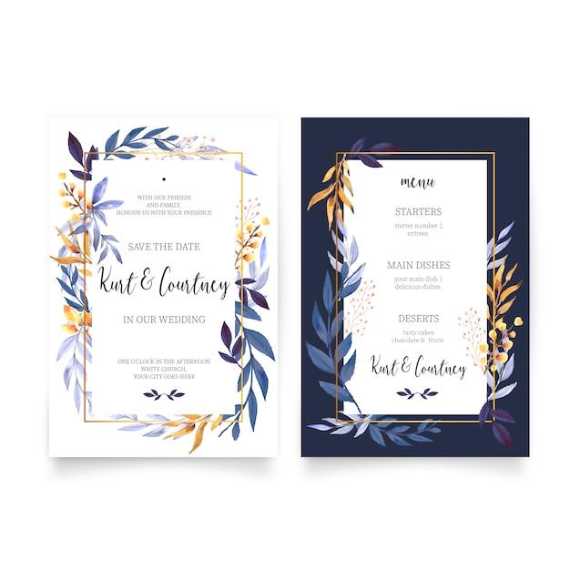 花の結婚式招待状とメニューテンプレート 無料ベクター