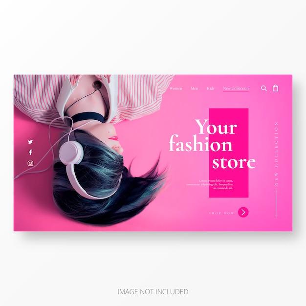 ファッションビジネスのクールなランディングページテンプレート 無料ベクター