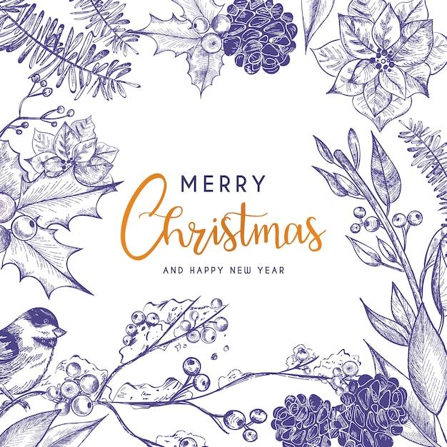 Красивая рождественская открытка с винтажными цветами Бесплатные векторы