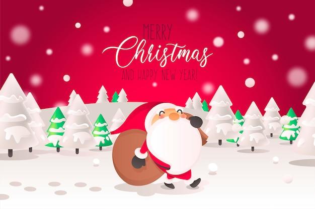 風景のサンタキャラクターとクリスマスの背景 無料ベクター