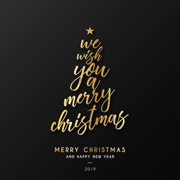 Рождественский фон с золотой цитатой Бесплатные векторы
