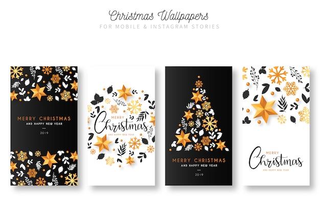 モバイル&インスタントグラフストーリーのクリスマスの壁紙 無料ベクター