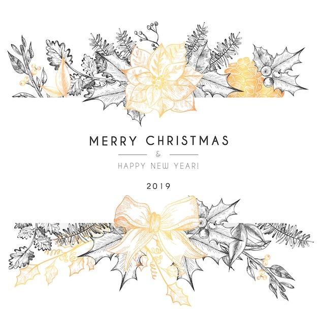 ヴィンテージのクリスマスカードテンプレート 無料ベクター