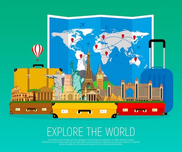 ランドマークと折り畳まれた世界地図のスーツケース。 Premiumベクター