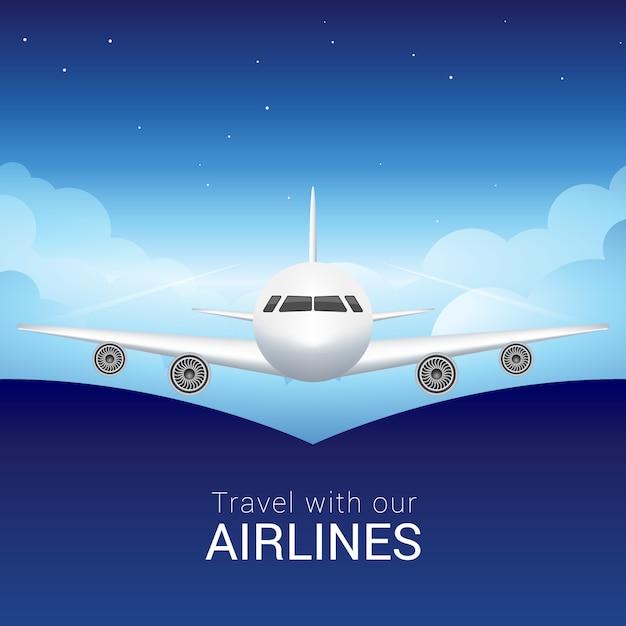 空雲の旅客機、空を横切る安全な飛行 Premiumベクター