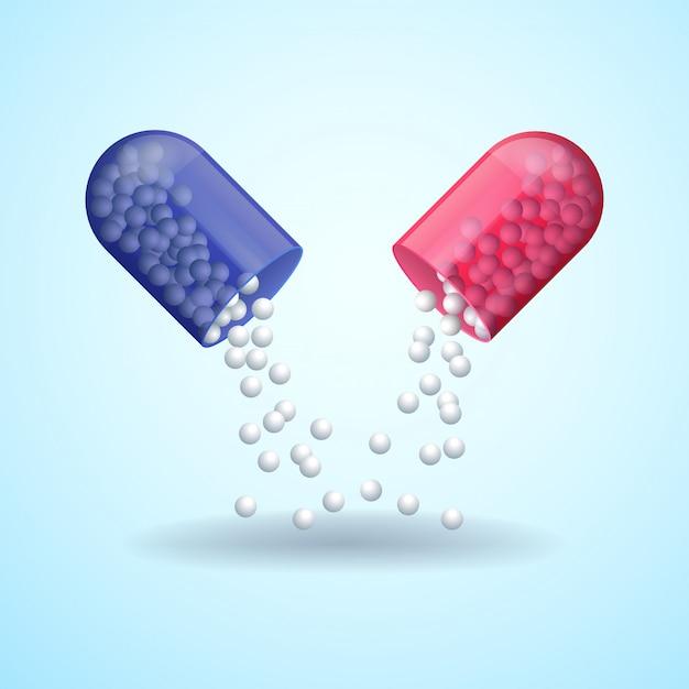 Красная и синяя полная медицинская таблетка-капсула с молекулами Premium векторы