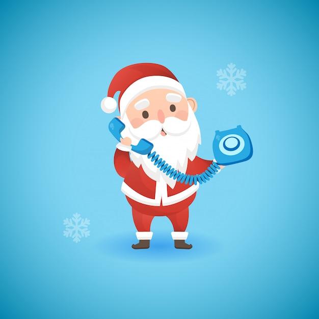 青い古い携帯電話、ベクトル図を保持しているクリスマス面白いサンタクロース。 Premiumベクター